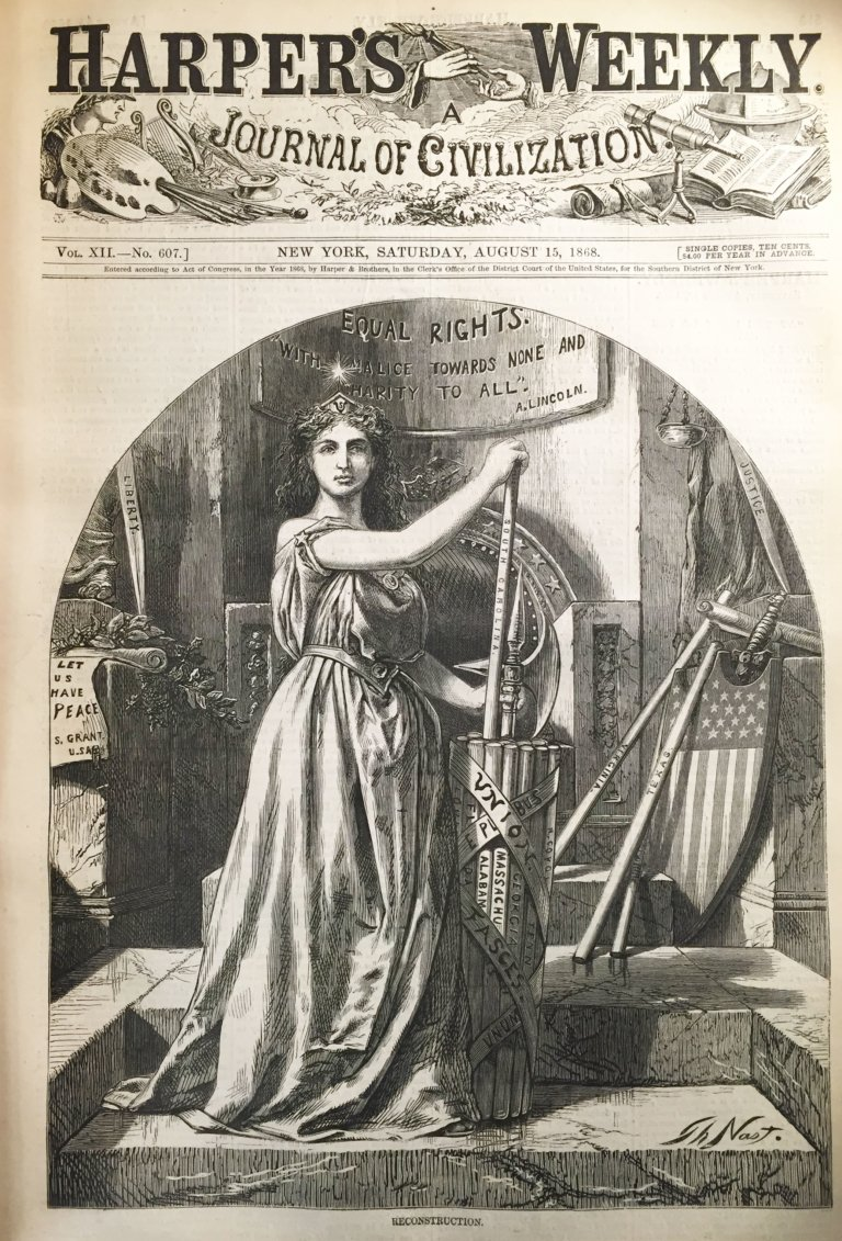 "Columbia (American Minerva) and the Fasces in ""Reconstruction"" for Equal Rights (1868), Harper's Weekly 