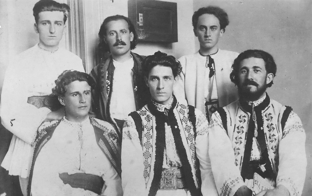 "Corneliu Zelea Codreanu (front row, center) with founding members of the Romanian legionary movement ""Legion of the Archangel Michael,"" 1931."